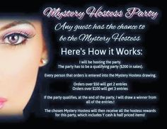 Starting today, I am hosting a Mystery Hostess Party. Everyone who places an order will be put in a drawing to win ALL THE HOSTESS REWARDS ( FREE MAKE UP AND HALF OFF ITEMS!!) The only way this works is if it's a qualifying party which is $200 in sales. So the more orders, the more rewards. It's so simple! Feel free to share this party. More the merrier I will choose the winner in 10 days Feb 22.  Here's the link to the party…