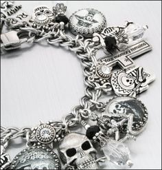 Day Of The Dead jewelry | ... los Muertos silver Charm Bracelet, Day of the Dead Jewelry on Wanelo
