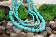 Three Strand Turquoise Necklace, Semi Precious Stone Necklace, Beaded Necklace, Handcrafted, Gift for Her, Valentine Gift by IvanRoseCreations on Etsy