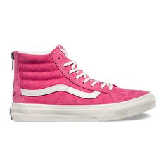 SK8-Hi Slim Zip ($80) ❤ liked on Polyvore featuring shoes, sneakers, pink, vans trainers, vans shoes, pink sneakers, zip shoes and zipper shoes