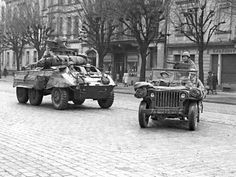 Assault vehicle with Jeep 4x4, part of the 601st TD Battalion secure part of Strasbourg after the battle for the city in November 1944.