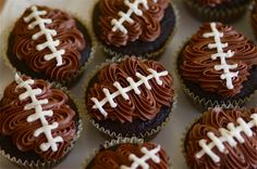 Double Chocolate Football Cupcakes 23 Cute Football Snacks For Your Super Bowl Party Football Cupcakes, Football Party Foods, Football Food, Football Treats, Football Parties, Football Desserts, College Football, Football Banquet, Tailgate Parties