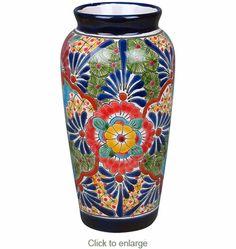 Cylindrical Talavera Vase