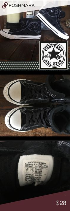 Converse All Star Chuck Taylors 📝Back to School📚 Super Cool Design High Top Padded Comfy Chucks! Check out soles & back insignia - these have hardly been worn or broken in! ⬆️   🚭Nonsmoking Home. ✅Hypoallergenic pet friendly, we have a Morkie. 🚫Sorry, I don't trade. Converse Shoes Sneakers
