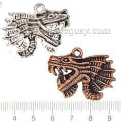 Zinc Alloy Dragon Charms,Plated,Cadmium And Lead Free,Various Color For Choice,Approx 27.5*36*4mm,Hole:Approx 3mm,Sold By Bags,No 001103