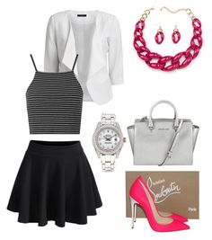 """Untitled #74"" by lizliggins ❤ liked on Polyvore featuring VILA, Christian Louboutin, MICHAEL Michael Kors, Rolex and Topshop"
