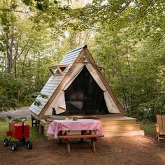 """From luxuriously appointed glamp tents and cottages for families and couples to """"unique retreats,"""" Sandy Pines Campground offers the best glamping in Maine. Tiny Cabins, Tiny House Cabin, Cabin Homes, Outdoor Fun, Outdoor Spaces, Outdoor Living, Outdoor Cabana, Luxury Glamping, Camping Glamping"""