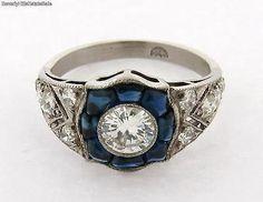 Stunning Art Deco Diamond Sapphire Platinum Ring .70 C Center