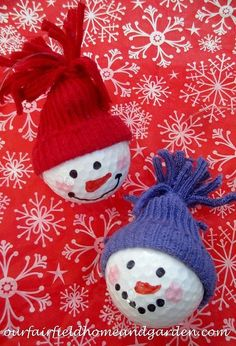 Snowman Ornaments ~ from golf balls! A quick and easy holiday craft the whole fa., DIY and Crafts, Snowman Ornaments ~ from golf balls! A quick and easy holiday craft the whole family will enjoy! Snowman Christmas Ornaments, Snowman Crafts, Ball Ornaments, Holiday Crafts, Christmas Crafts, Christmas Decorations, Holiday Decor, Holiday Ideas, Christmas Ideas