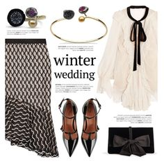 """True Romance: Winter Wedding"" by littlehjewelry ❤ liked on Polyvore featuring Chloé, Lela Rose, RED Valentino, Ann Taylor, contestentry, winterwedding, littlehjewelry and pearlsjewelry"