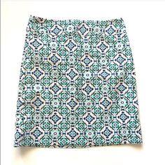 "Ann Taylor geometric print skirt Item: Ann Taylor geometric print pencil skirt so pretty . Size: 0  Measurements: waist 13.5""across hips 17.5"" length 18"" Ann Taylor Skirts Mini"