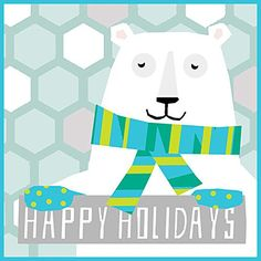 "Holiday Polar Bear Blue/Green Scarf Needlepoint Kit, 16"" Square, Canvas Only Kit. - http://www.specialdaysgift.com/holiday-polar-bear-bluegreen-scarf-needlepoint-kit-16-square-canvas-only-kit/"