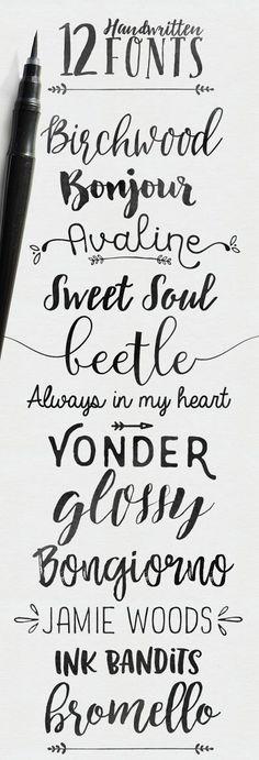 - Skyla Design -: 12 handwritten fonts, some free