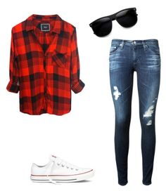 """""""Untitled #1"""" by aidabalkabekova ❤ liked on Polyvore featuring beauté, AG Adriano Goldschmied et Converse"""