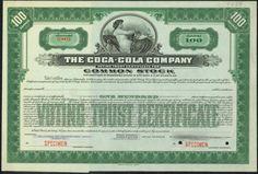 Coca-Cola Company stock certificate, 1919