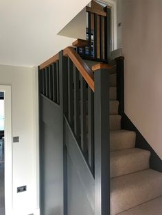 A double winder staircase manufactured in softwood. The customer chose to paint the stairs in a contemporary grey shade which is further complimented by the square aesthetic of the staircase. Painted Stairs, Internal Doors, Cabins, Entrance, Contemporary, Grey, Home Decor, Gray, Painted Staircases