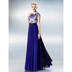A-line Jewel Floor-length Chiffon And Lace Evening Dress – USD $ 129.99