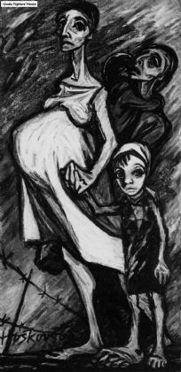"""Artist, Helga Weissova-Hoskova, was imprisoned in the Thereisenstadt Ghetto of WWII. In 1963, she created this art, entitled: """"Women and Children Being Sent on a Transport from the Terezin (Theresienstadt) Ghetto."""""""