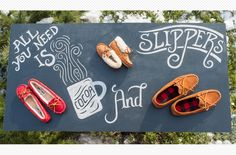 All you need this winter is Cocoa and Slippers! Kearney Nebraska, Baby Moccasins, Shop Ideas, Cocoa, Woods, Tory Burch, Mad, Slippers, Collections