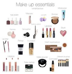 """""""Make up essentials"""" by osnapitzjacque ❤ liked on Polyvore featuring beauty, Essie, Too Faced Cosmetics, Eos, Clinique, ULTA, NARS Cosmetics, Anastasia Beverly Hills, MAC Cosmetics and Chanel"""