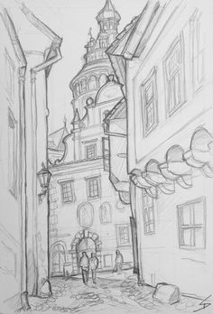 Landscape Art - Český Krumlov, Czech Republic. 'Nove Mesto.' Landscape Sketch, Landscape Drawings, Landscape Art, Architecture Concept Drawings, Architecture Art, City Drawing, Nature Sketch, Perspective Art, Arte Sketchbook