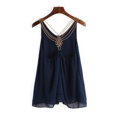 SheIn(sheinside) Navy Chain Strap Chiffon Cami Top ($9.99) ❤ liked on Polyvore featuring tops, navy, navy blue cami, blue cami, navy blue tank, spaghetti strap tank and chiffon top