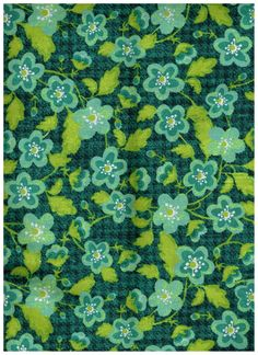TL097, Half Yard Cut, 100% Cotton Fabric, Teal, Green And White Flowers, Great…