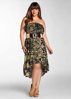 93d5269b298 Ashley Stewart  Tube Top Print Dress With Belt