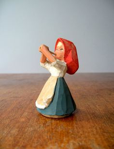 Vintage Henning Norway Carved Wooden Girl by luola on Etsy, $17.00