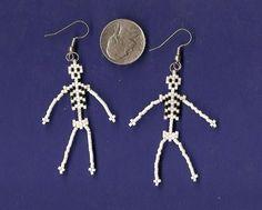 Seed bead skeleton earrings