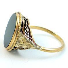 lauren rose design: antique art deco two toned filigree black onyx ring
