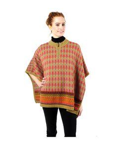 Baby Alpaca Half-Zip Poncho Sweater - Multi-color