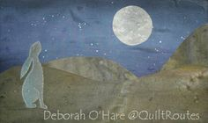 Moon Gazing Hare Hand painted fabric kit available through QuiltRoutes.co.uk