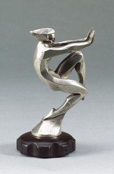 'En Avant' nude mascot by François Bazin, French, 1920s,
