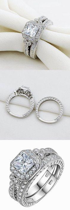 Newshe Vintage Bridal Set Princess White Cz 925 Sterling Silver Wedding Engagement Ring Set Size 6 #SterlingSilverWedding