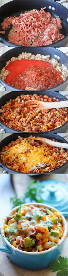 One Pot Mexican Skillet Pasta - 1 Tbs olive oil, 1 pound ground turkey, 1 (15-ounce) can tomato sauce, 2 cups salsa, 2 cups cooked elbows pasta, 1 Roma tomato, diced, 1 cup corn kernels, 1 cup canned black beans, rinsed, 1/2 cup shredded cheddar cheese, 1 avocado, halved, seeded, peeled and diced, 2 tablespoons chopped fresh cilantro leaves.