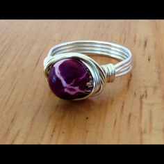 Jasper Wrap Ring Pretty Purple Sea Jasper Gemstone HandWrapped With Sterling Silver Plated Wire. Size 8 or Custom size available Jewelry Rings
