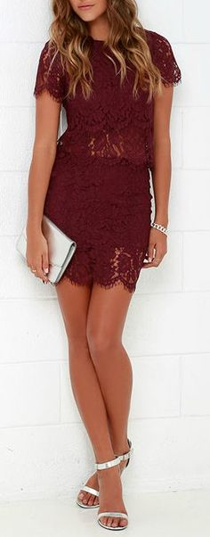 You'll fondly reminisce on all the good times you've had (and will have!) in the Turn Back Time Burgundy Lace Two-Piece Dress! Burgundy eyelash lace overlay shapes a cute crop top with a round neckline and short sleeves. A second layer of lace drops below the scalloped hem to create a sheer, tiered look. Matching skirt finishes off the set with its figure-accentuating fit and tiered mini-length hem. #lovelulus