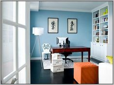 Enjoyable Paint Colors Blue Home Office Ideas Boldly Accented Home Office Largest Home Design Picture Inspirations Pitcheantrous
