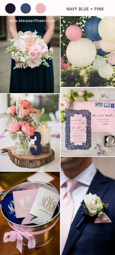 navy blue and pink wedding color combo ideas for 2018 #blueweding #weddingcolors #weddingideas / http://www.deerpearlflowers.com/navy-blue-wedding-color-combo-ideas/
