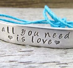 Bracelet ONE Custom Hand Stamped Jewelry Name Tie On Hemp Cord Personalized BFF Besties Jewelry All You Need Is Love