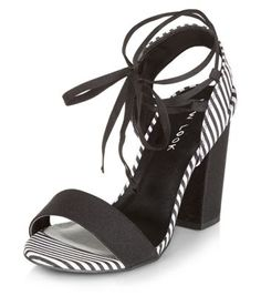 Black Stripe Lace Up Block Heels