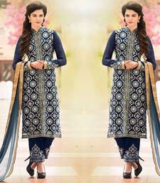 Blue embroidered Georgette semi stitched salwar with dupatta shop online