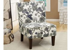 Grey Floral Pattern Accent Chair