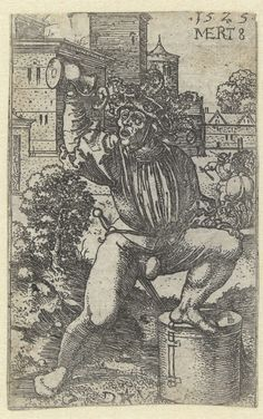 Dirck Vellert | De dronken tamboer, Dirck Vellert, 1525 | Trommelaar met linkervoet op trommel en in rechterhand kan met drank.