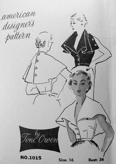 American Designer Pattern by Toni Owen. Buttons for a cape or unbuttoned for ruffles in front. Vintage Dress Patterns, Clothing Patterns, Vintage Dresses, Vintage Outfits, Vintage Fashion, Vintage Clothing, Wrap Clothing, 1940s Fashion, Retro Pattern