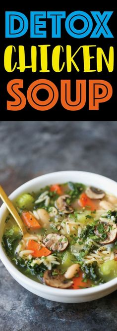 Detox Chicken Soup - Cleansing immune-boosting soup packed with all the good stuff (kale mushrooms celery carrots etc.) without compromising any taste! Detox Chicken Soup, Chicken Soup Recipes, Healthy Chicken Soup, Paleo Soup, Brothy Soup Recipes, Chicken Broth Soup, Cabbage Soup Recipes, Onion Chicken, Mushrooms
