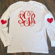 Valentine's Day Shirt - Valentine's Day Monogram Tee - Elbow Patch Monogrammed T-Shirt - Long Sleeve Monogrammed T Shirt - Long Sleeved Tee Monogram T Shirts, Embroidery Monogram, Monogram Initials, Monogram Clothing, Baby Jeans, Monogrammed Purses, Valentines Day Shirts, Elbow Patches, Teacher Shirts