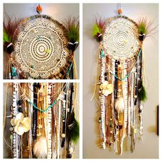 DIY dreamcatcher. Fun rainy day project inspired by Freepeople. I used hemp, lace, fur, feathers, leather, ribbon, beads, chain, sequin and other materials I had laying around.