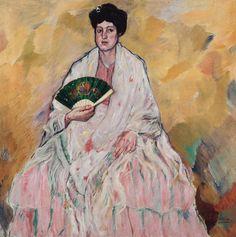 mujer con abanico de Francisco Iturrino González